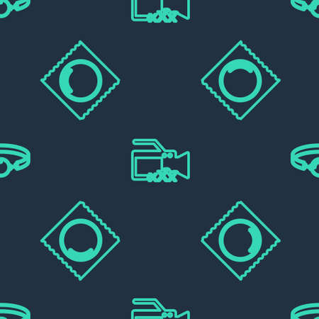 Set line Video camera with Sex, Condom in package and Silicone ball gag on seamless pattern. Vector