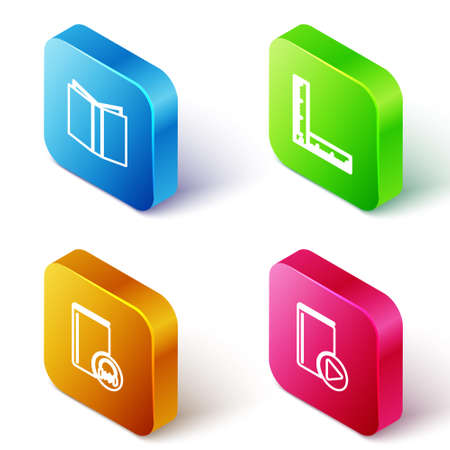 Set Isometric line Open book, Folding ruler, Audio and icon. Vector