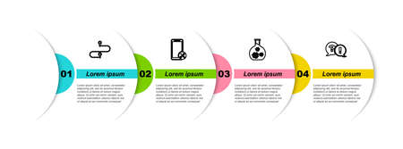 Set line Route location, Mobile service, Test tube with virus and Question and Exclamation. Business infographic template. Vector