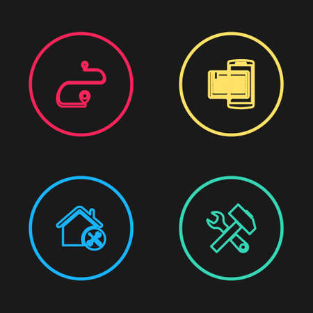 Set line House service, Crossed hammer and wrench, Smartphone book and Route location icon. Vector