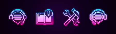 Set line Headphones with speech bubble chat, Interesting facts, Crossed hammer and wrench and . Glowing neon icon. Vector