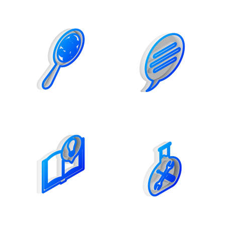 Set Isometric line Speech bubble chat, Microorganisms under magnifier, Interesting facts and Bioengineering service icon. Vector
