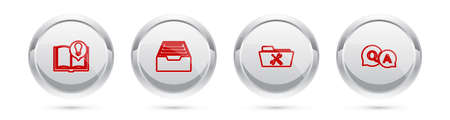 Set line Interesting facts, Drawer with documents, Folder service and Question and Answer. Silver circle button. Vector