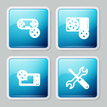 Set line Gamepad service, Air conditioner, Microwave oven and Crossed screwdriver and wrench icon. Vector Ilustracja