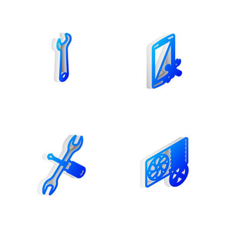 Set Isometric line Smartphone service, Wrench, Crossed screwdriver and wrench and Air conditioner icon. Vector