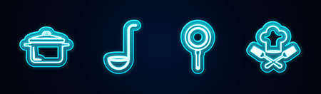 Set line Cooking pot, Kitchen ladle, Frying pan and Chef hat and fork. Glowing neon icon. Vector Vettoriali