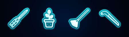 Set line Gardening handmade scissor, Flowers pot, rake for leaves and saw. Glowing neon icon. Vector  イラスト・ベクター素材