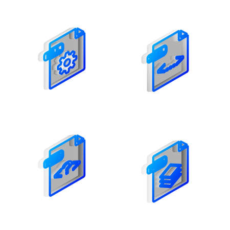 Set Isometric line XML file document, DLL, PHP and PSD icon. Vector 向量圖像
