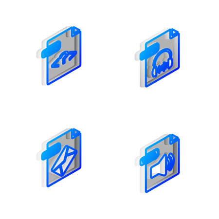 Set Isometric line MP3 file document, PHP, MSG and WMA icon. Vector 向量圖像