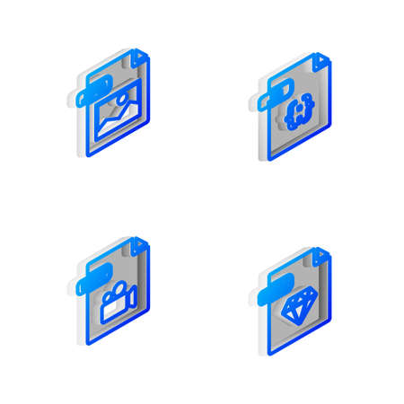 Set Isometric line JS file document, JPG, MOV and RUBY icon. Vector 向量圖像