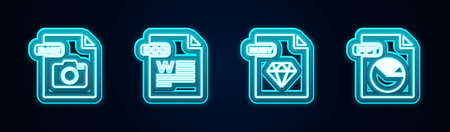 Set line RAW file document, DOC, RUBY and PPT. Glowing neon icon. Vector