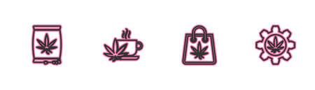 Set line Marijuana or cannabis seeds, Shopping bag of marijuana, Cup tea with and Test tube icon. Vector