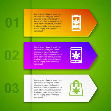 Set line Online buying marijuana, Marijuana or cannabis seeds, Shopping bag of and Test tube with. Business infographic template. Vector