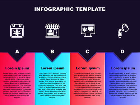Set line Calendar and marijuana, Marijuana cannabis store, Online buying and Watering. Business infographic template. Vector Ilustracja
