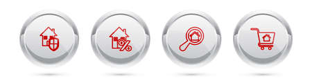 Set line House under protection, with percant, Search house and Shopping cart. Silver circle button. Vector