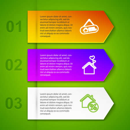 Set line Hanging sign with Open house, House heart shape, percant and For Rent. Business infographic template. Vector