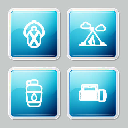 Set line Canteen water bottle, Tourist tent with flag, and Flashlight icon. Vector