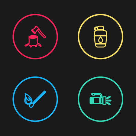 Set line Burning match with fire, Flashlight, Canteen water bottle and Wooden axe stump icon. Vector 向量圖像