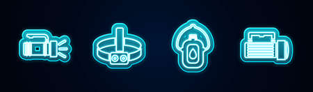 Set line Flashlight, Head flashlight, Canteen water bottle and . Glowing neon icon. Vector