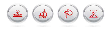 Set line Rafting boat, flask container, Slingshot and Tourist tent with flag. Silver circle button. Vector