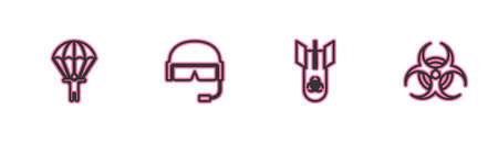Set line Parachute, Biohazard bomb, Military helmet and symbol icon. Vector