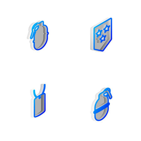 Set Isometric line Chevron, Hand grenade, Military dog tag and icon. Vector