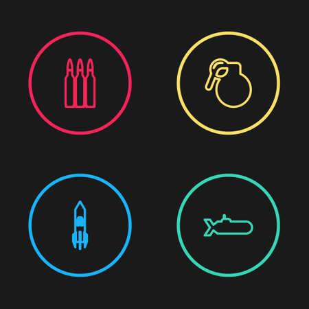 Set line Biohazard rocket, Submarine, Hand grenade and Bullet icon. Vector