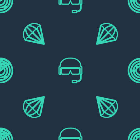 Set line Military helmet, Parachute and Radar with targets on seamless pattern. Vector