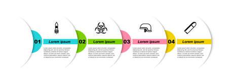 Set line Biohazard rocket, symbol, Military helmet and Bullet. Business infographic template. Vector 向量圖像