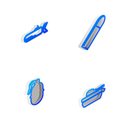 Set Isometric line Bullet, Submarine, Hand grenade and Military tank icon. Vector