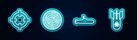 Set line Target sport, Radar with targets, Submarine and Biohazard bomb. Glowing neon icon. Vector 向量圖像