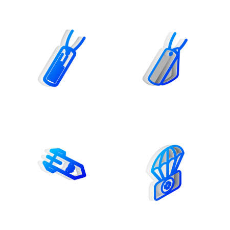 Set Isometric line Military dog tags, , Biohazard rocket and Parachute with first aid kit icon. Vector