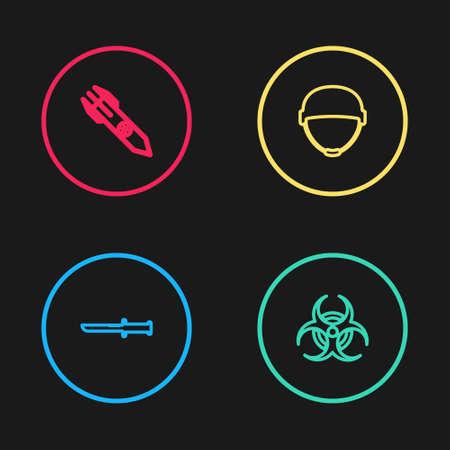 Set line Military knife, Biohazard symbol, helmet and Nuclear rocket icon. Vector 向量圖像