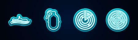 Set line Submarine, Hand grenade, Radar with targets and . Glowing neon icon. Vector