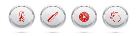 Set line Military reward medal, Bullet, Target sport and Hand grenade. Silver circle button. Vector