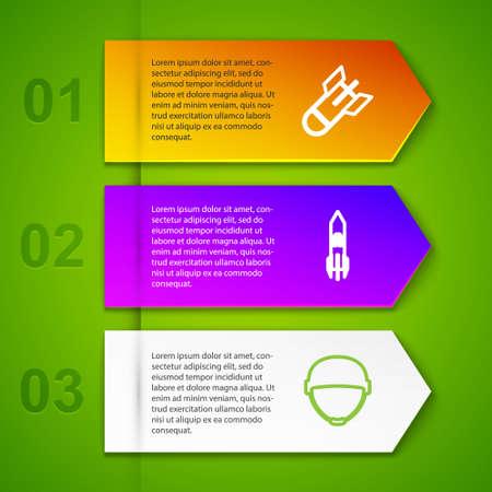 Set line Aviation bomb, Biohazard rocket, Military helmet and Chevron. Business infographic template. Vector