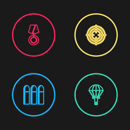 Set line Bullet, Parachute, Target sport and Military reward medal icon. Vector