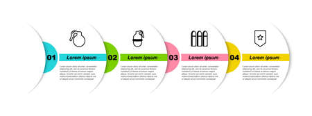 Set line Hand grenade, , Bullet and Chevron. Business infographic template. Vector