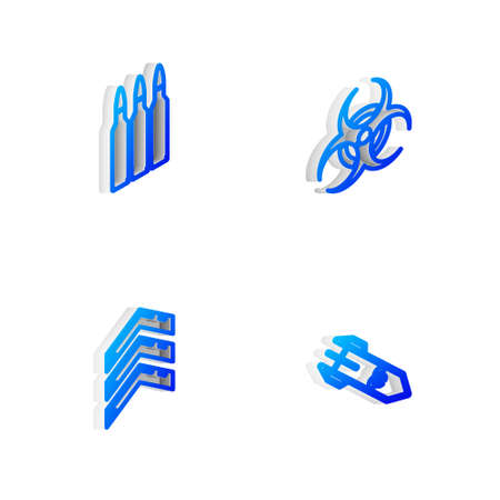 Set Isometric line Biohazard symbol, Bullet, Military rank and rocket icon. Vector 向量圖像