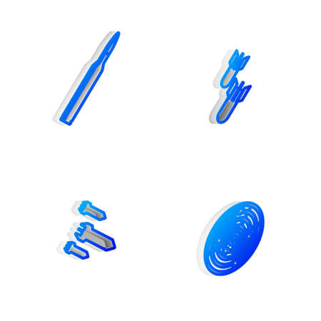 Set Isometric line Aviation bomb, Bullet, Rocket and Radar with targets icon. Vector
