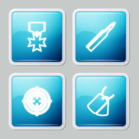 Set line Military reward medal, Bullet, Target sport and dog tags icon. Vector 向量圖像