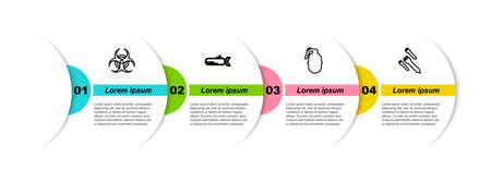 Set line Biohazard symbol, Submarine, Hand grenade and Rocket. Business infographic template. Vector