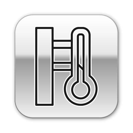Black Meteorology thermometer measuring icon isolated on white background. Thermometer equipment showing hot or cold weather. Vector