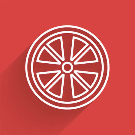 White line Alloy wheel for a car icon isolated with long shadow. Vector