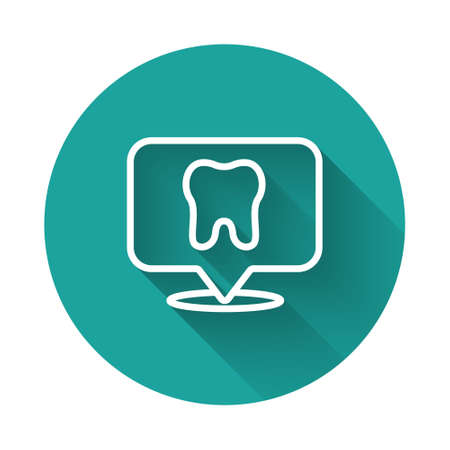 White line Dental clinic location icon isolated with long shadow. Green circle button. Vector
