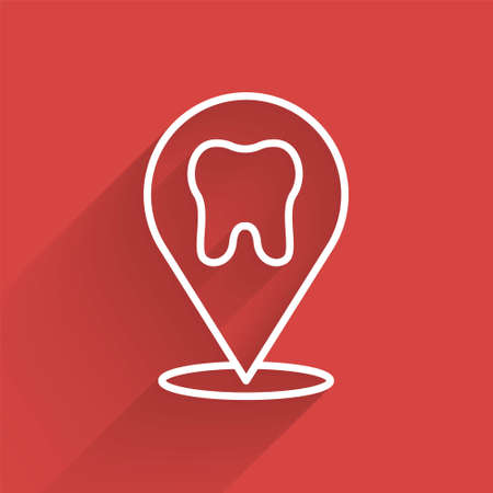White line Dental clinic location icon isolated with long shadow. Vector
