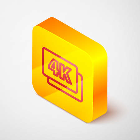 Isometric line 4k Ultra HD icon isolated on grey background. Yellow square button. Vector
