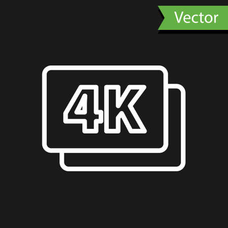 White line 4k Ultra HD icon isolated on black background. Vector Ilustração