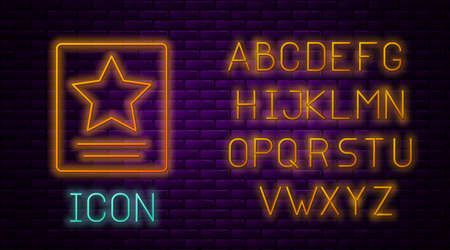 Glowing neon line Hollywood walk of fame star on celebrity boulevard icon isolated on brick wall background. Famous sidewalk, boulevard actor. Neon light alphabet. Vector