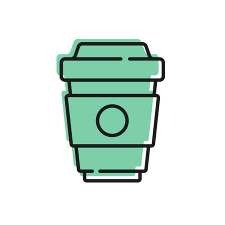 Black line Coffee cup to go icon isolated on white background. Vector